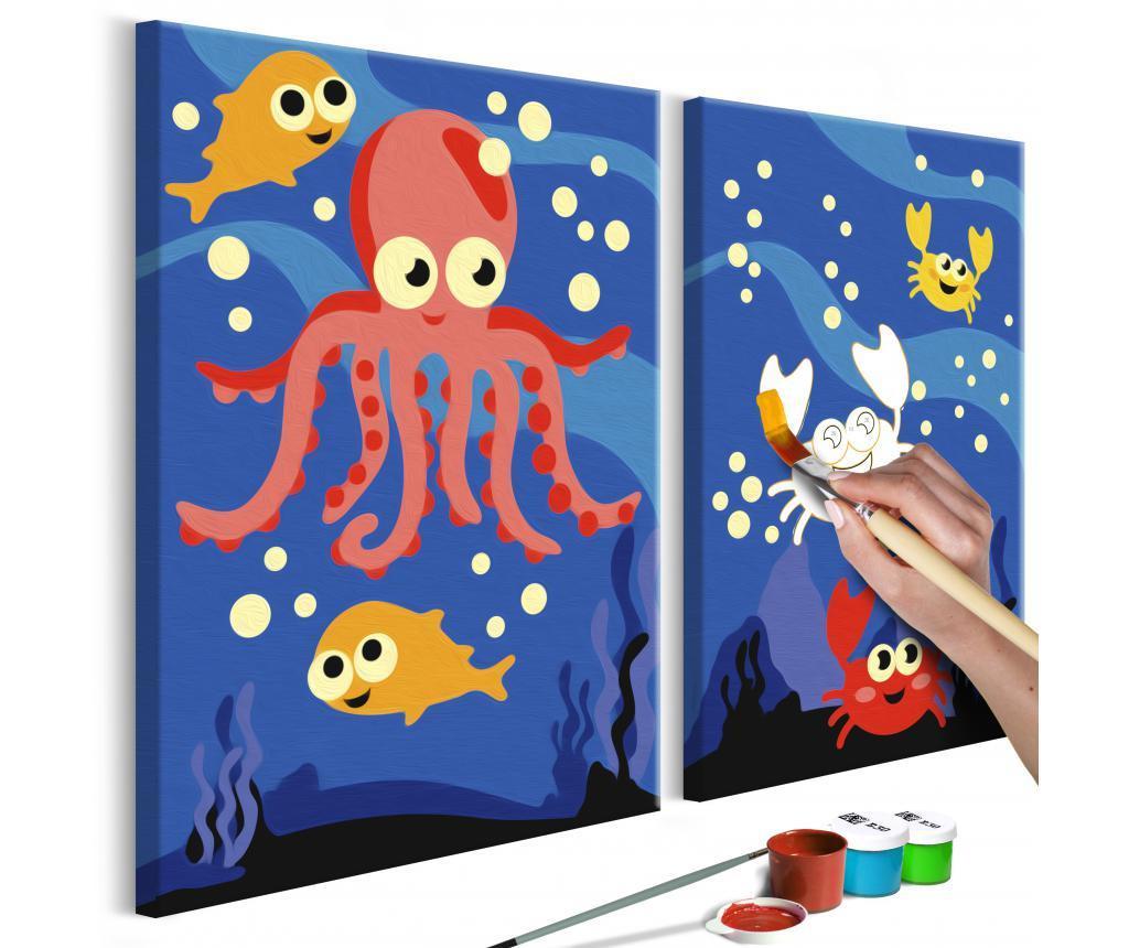 Set 2 tablouri DIY dupa numere Ocean Animals 16.5x23 cm