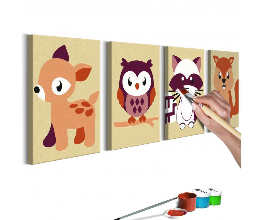 Set 4 tablouri DIY dupa numere Forest Animals 11x16.5 cm