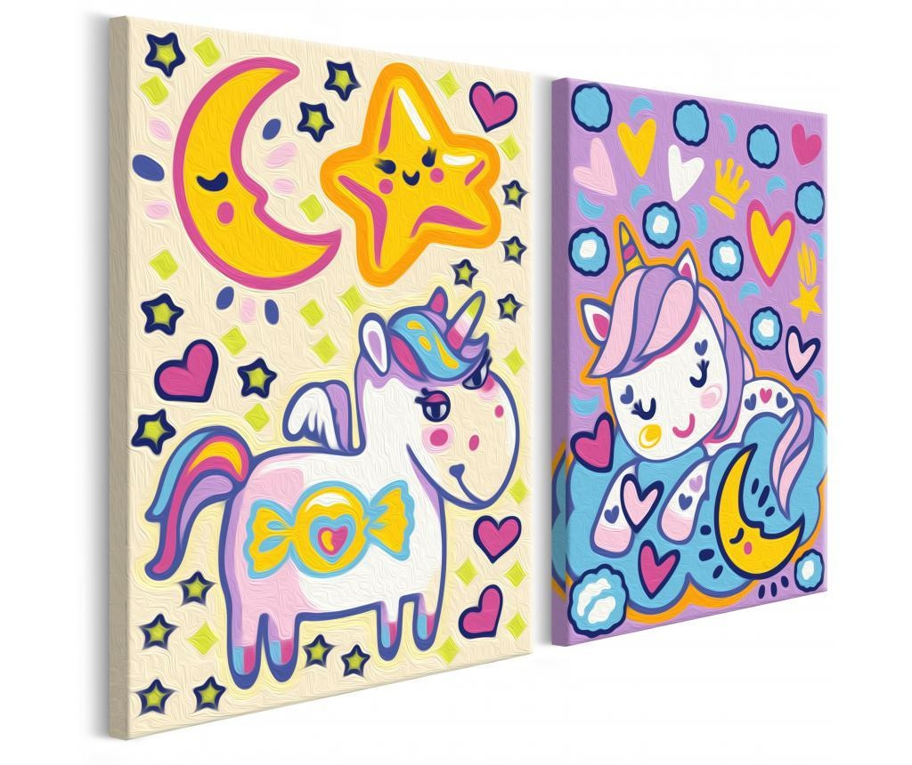 Set 2 tablouri DIY dupa numere Unicorns (Good Morning & Good Night) 16.5x23 cm