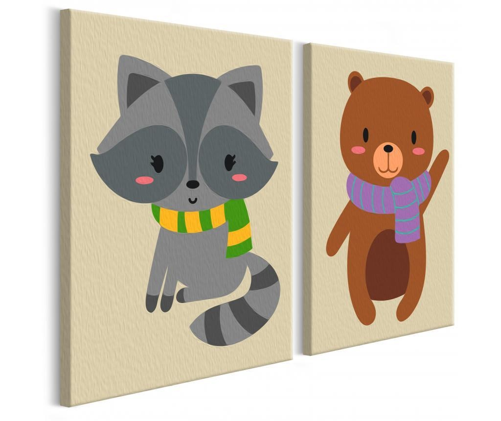 Set 2 tablouri DIY dupa numere Raccoon & Bear 16.5x23 cm