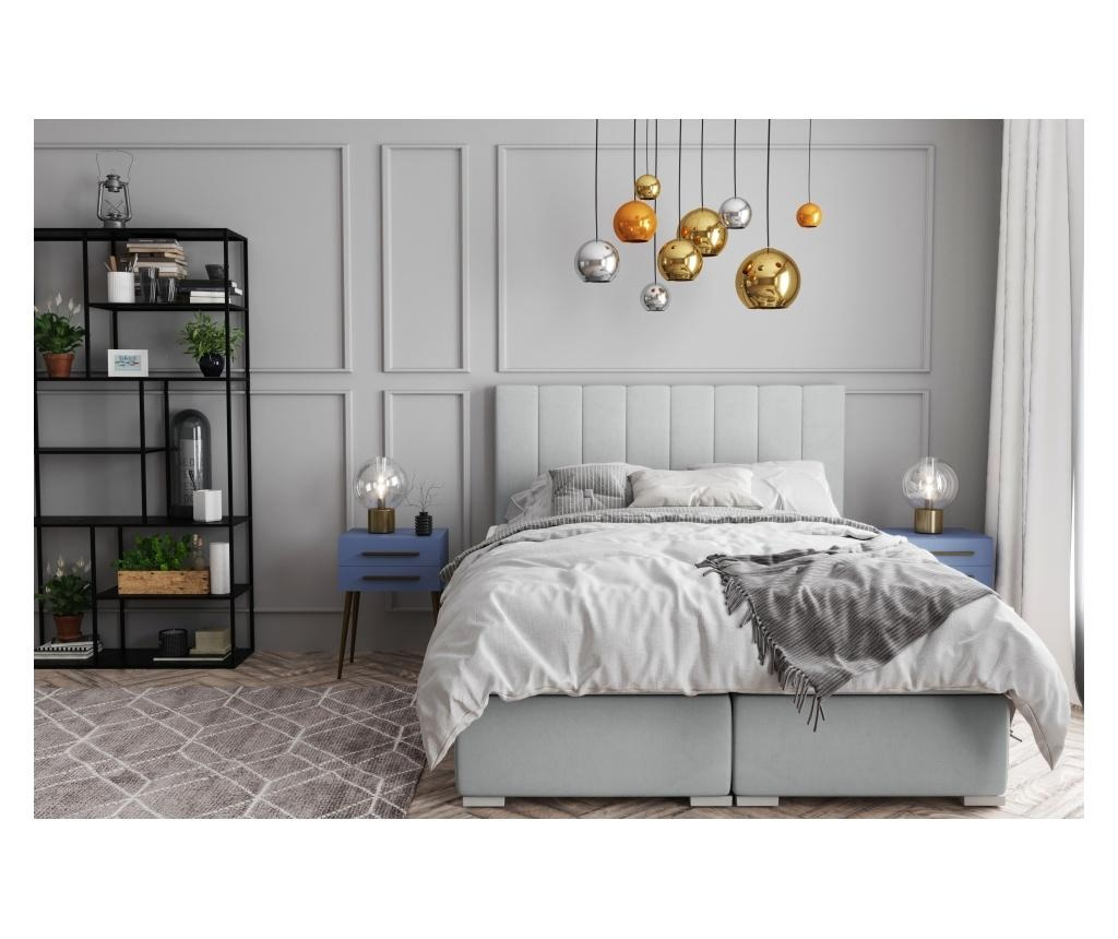 Łóżko kontynentalne ze schowkiem Saint Tropez Light Grey 180x200 cm
