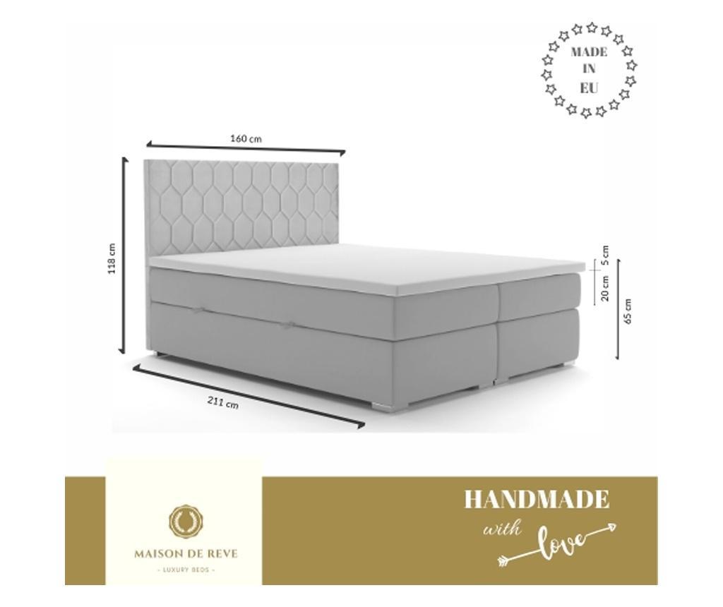 Легло с  място за съхранение Cannes Mustard 160x200 см