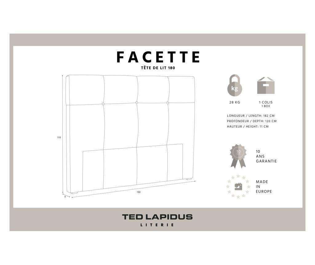 Uzglavlje kreveta Facette Anthracite 180x118 cm