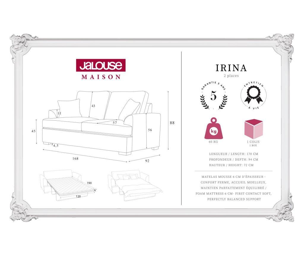 Kauč dvosjed na razvlačenje Irina Light Grey