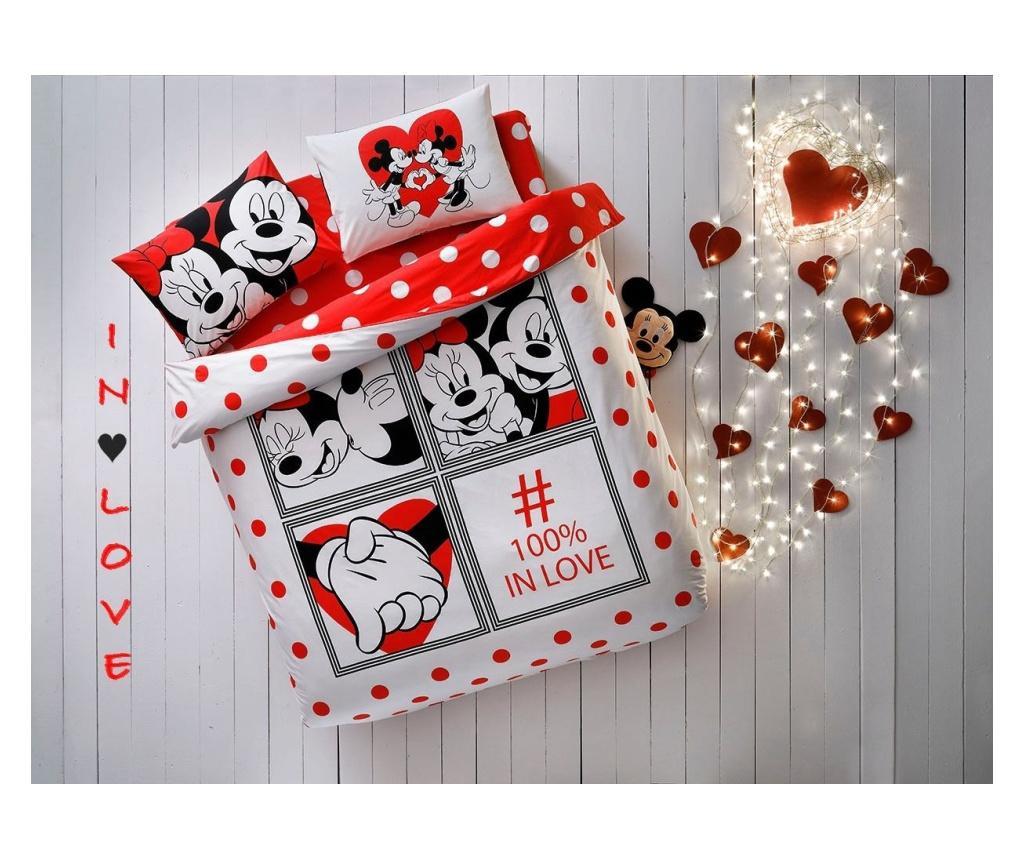 Комплект спално бельо Double Extra Taç Minnie & Mickey Dotty Love Multicolor