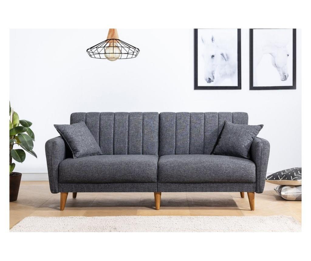 Canapea extensibila cu 3 locuri Tiffany Dark Grey