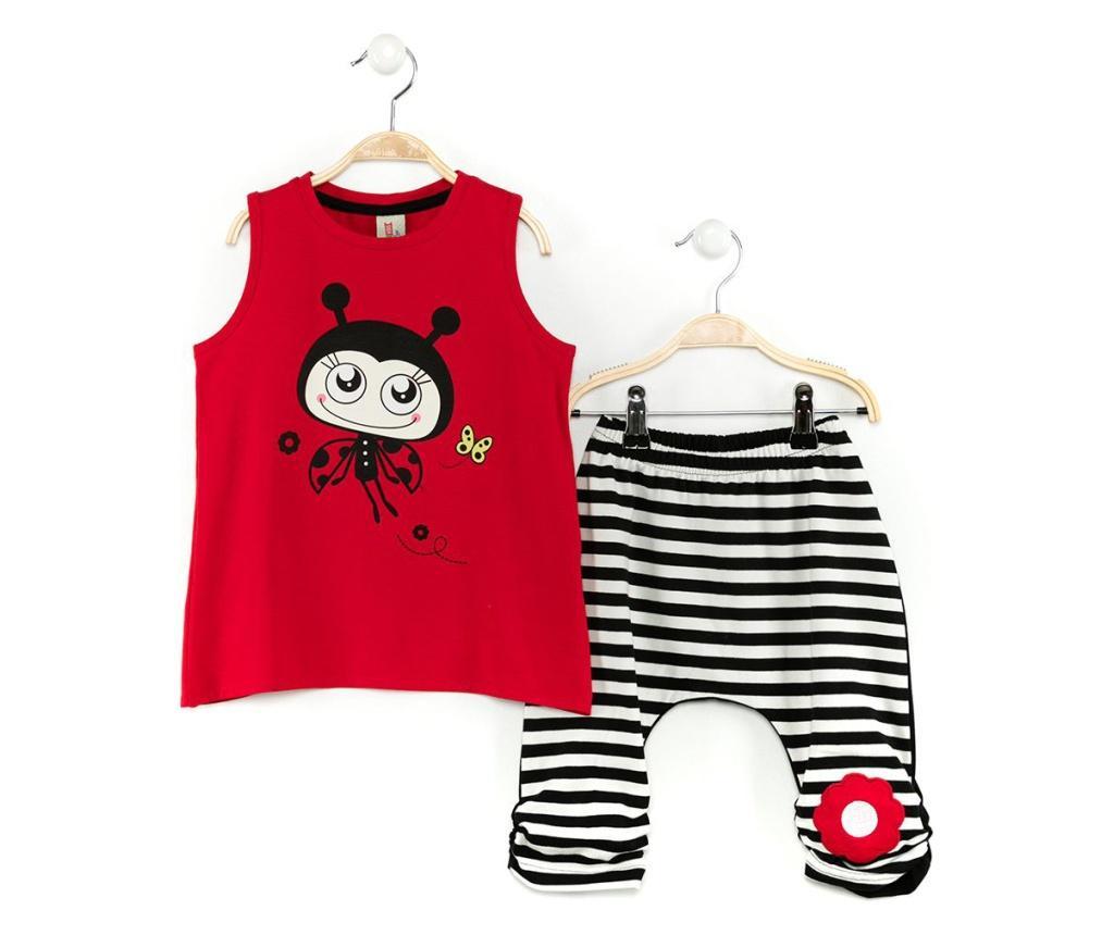 Set tricou fara maneci si pantaloni trei sferturi pentru copii Miss Lady Bug Baggy 4 years