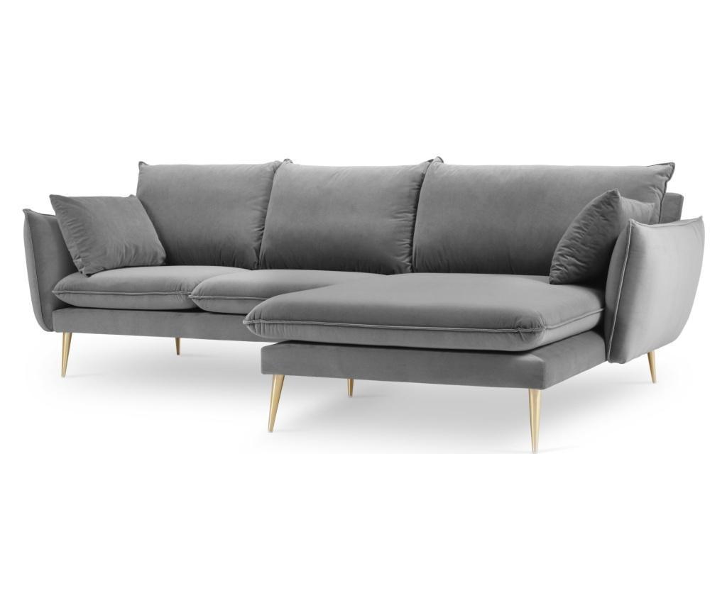 Desna kotna štiri-sedežna garnitura Elio Golden Legs Light Grey