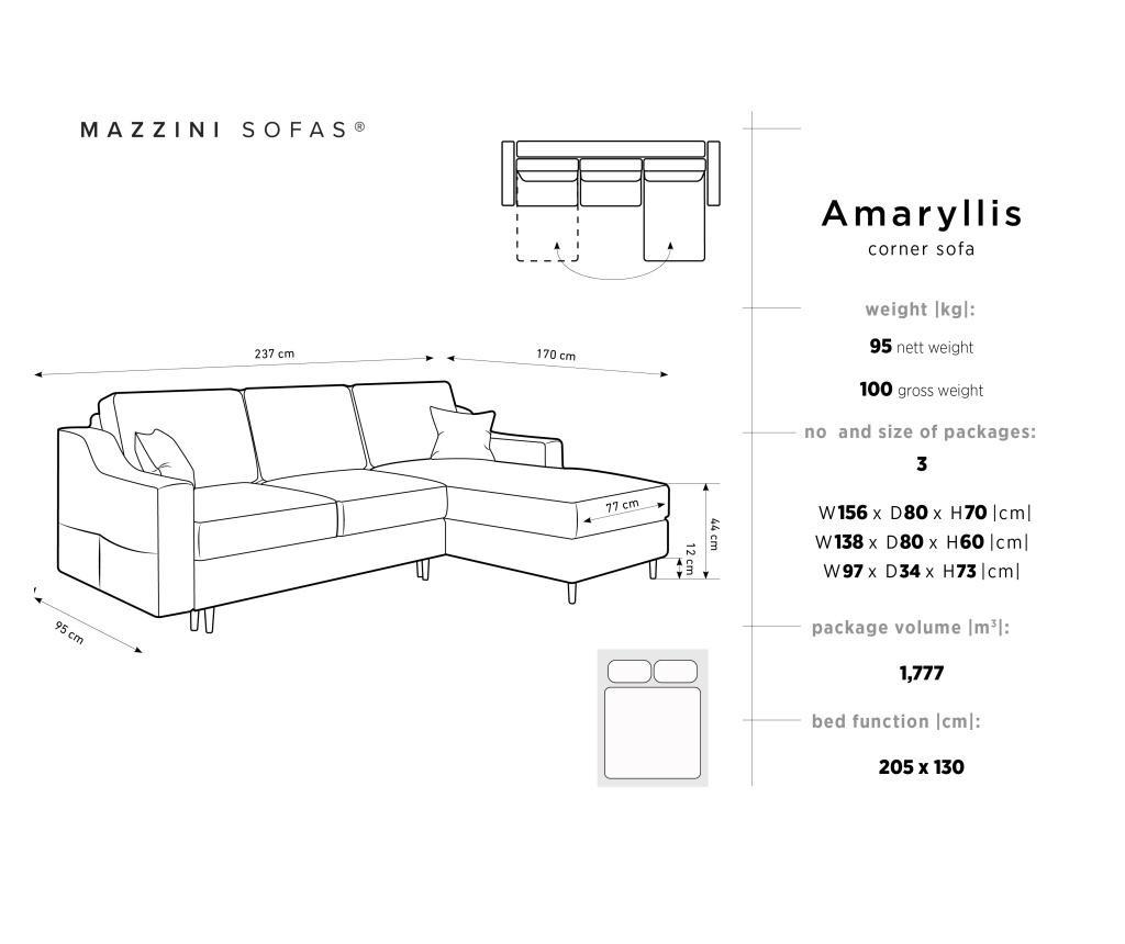 Amaryllis Velvet Beige and Black Chrome Four Megfordítható és kihúzható sarokkanapé