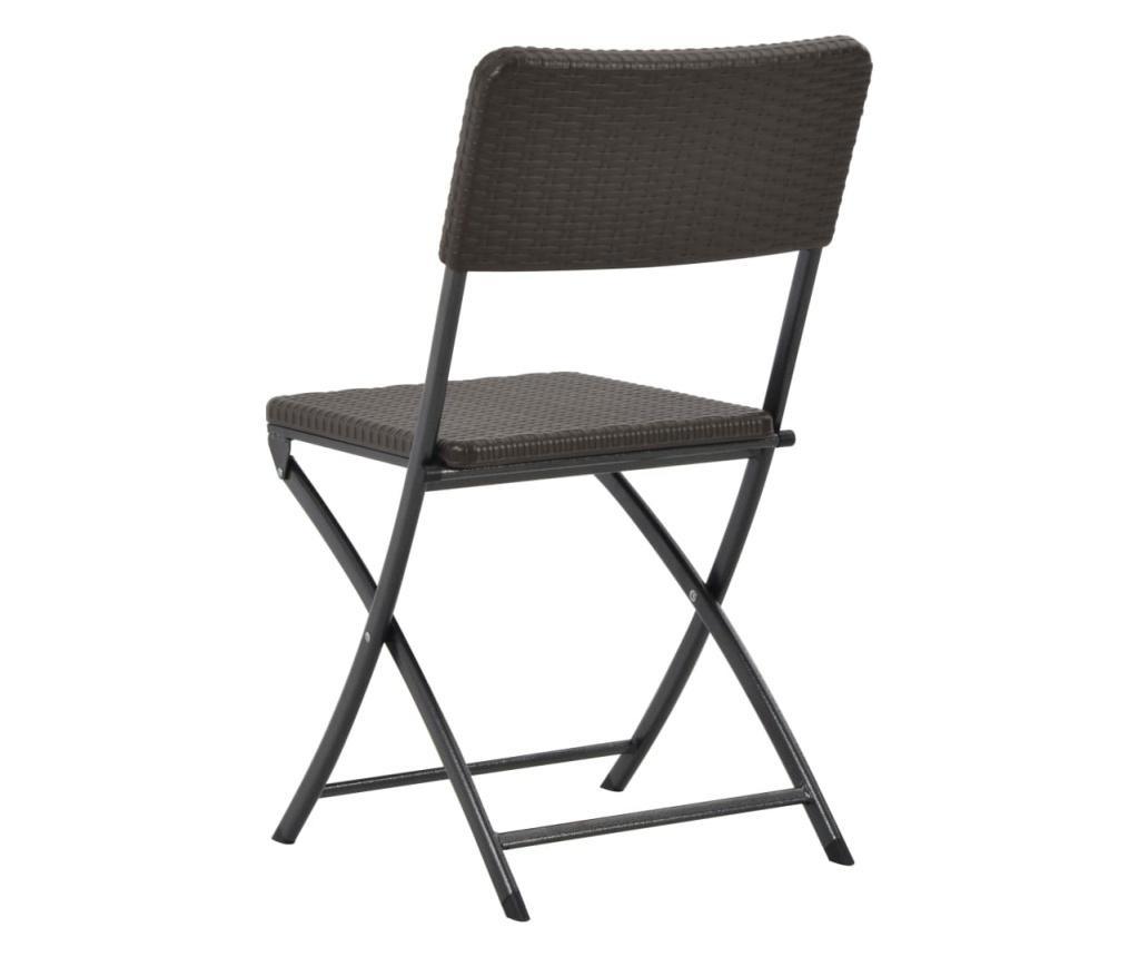 Składane krzesła ogrodowe, 2 szt., HDPE i stal, brązowe