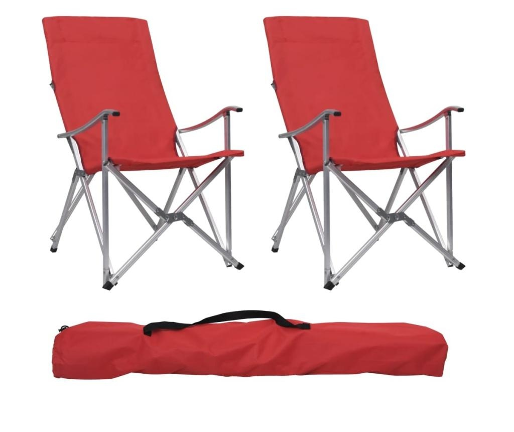 Składane krzesła turystyczne, 2 szt., czerwone