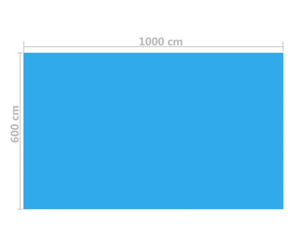 Prostokątna pokrywa na basen, 1000 x 600 cm, PE, niebieska